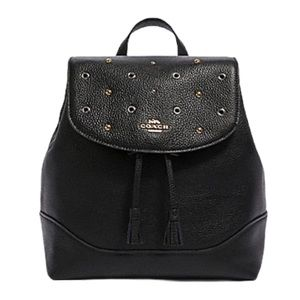 NWT COACH ELLE Grommets Studded Medium Backpack In BLACK Pebbled Leather